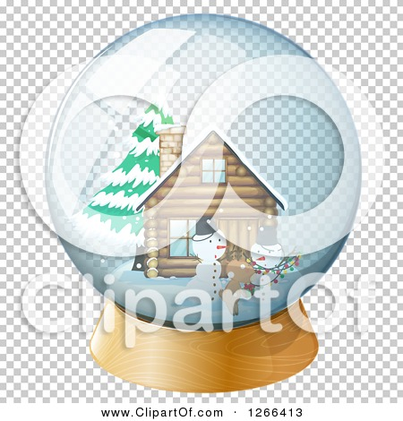 Clipart of a Snowman Reindeer and Cabin Snow Globe.