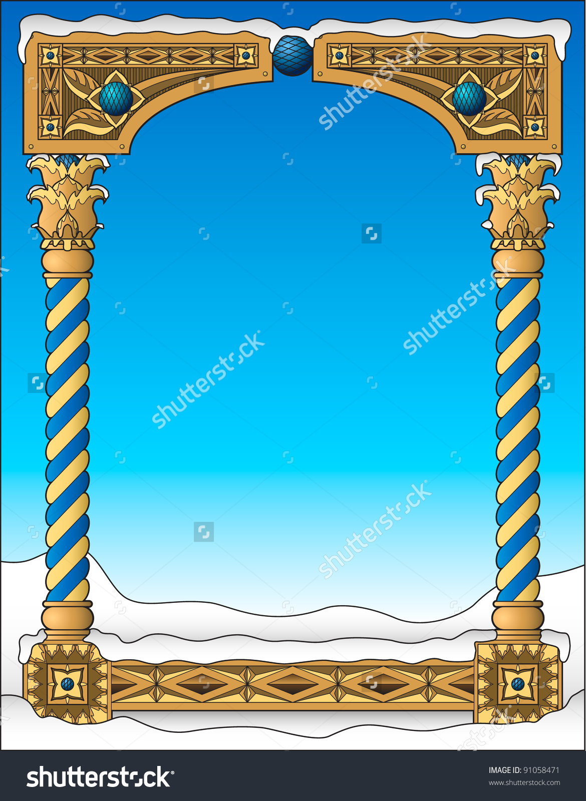 Snowy Traditional Frame Stock Vector Illustration 91058471.