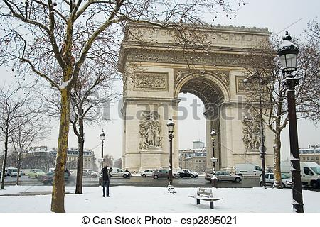 Stock Photography of Rare snowy day in Paris. Arc de Triomphe and.
