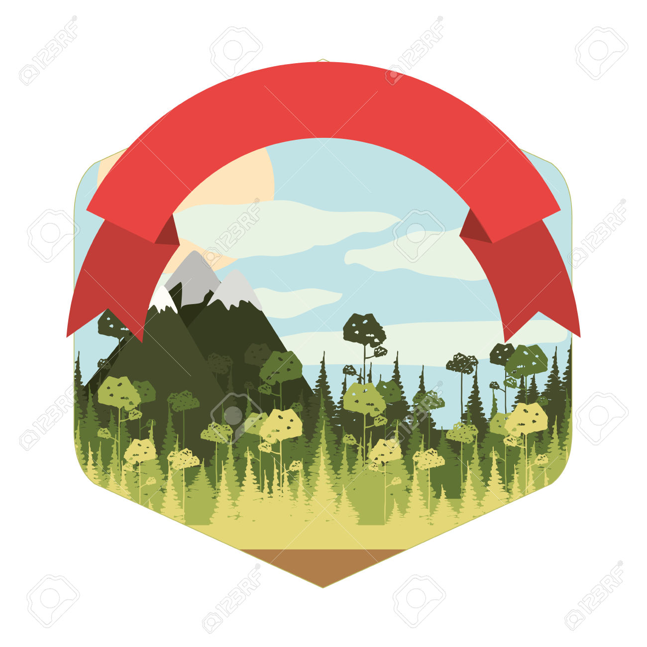 Frame With Forest And Snowy Mountains Superior Ribbon Vector.
