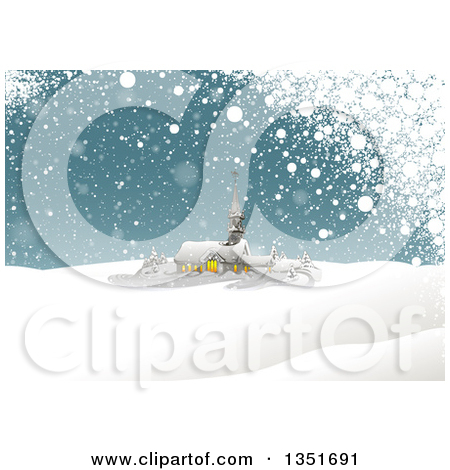 Clipart of a Winter Church on a Snowy Winter Hill.