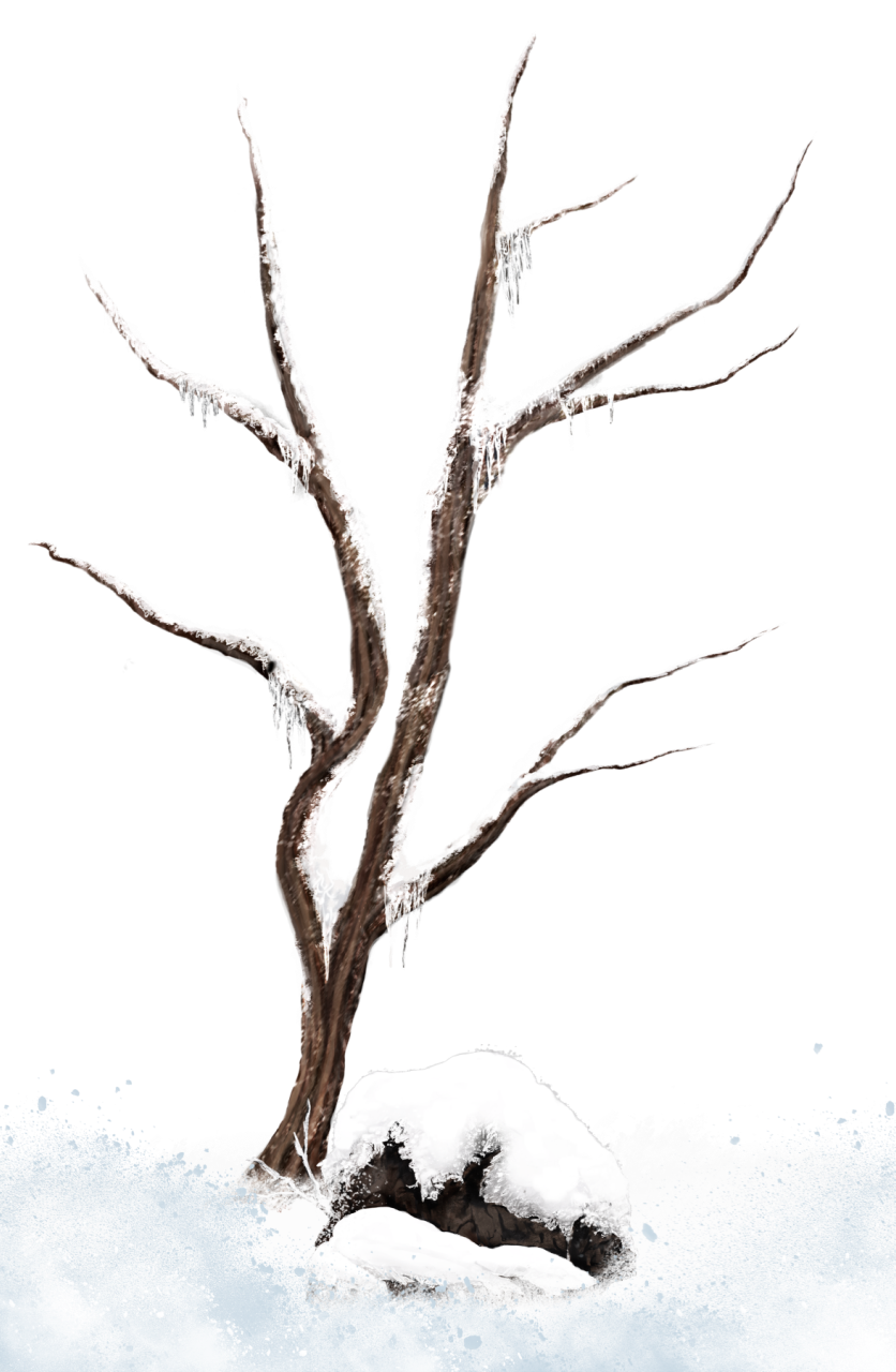 Brown Winter Snowy Tree PNG Clipart Picture.