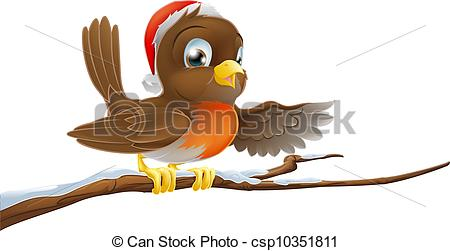 Vector Clip Art of Christmas Robin on Snowy Branch.