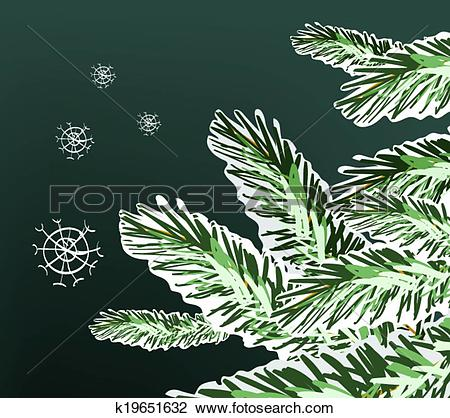 Clipart of Pine Tree Snowy Branches Winter Illustration k19651632.
