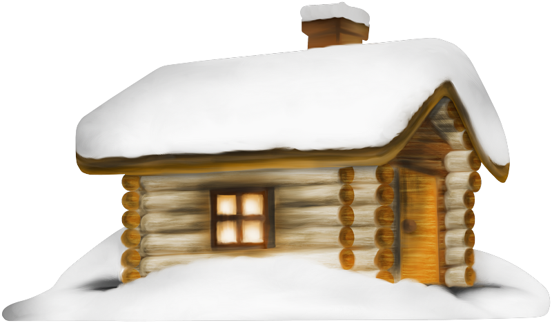 Transparent Winter House with Snow PNG Clipart.