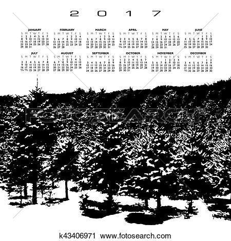 Clipart of A 2017 calendar with a snow covered pine forest.