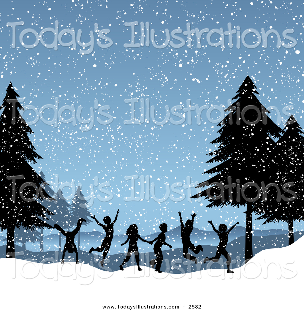 Clipart of Silhouetted Children Running and Playing on a Snowy Day.