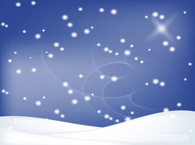 Winter Background with Snowy Landscape, Vector Graphic.