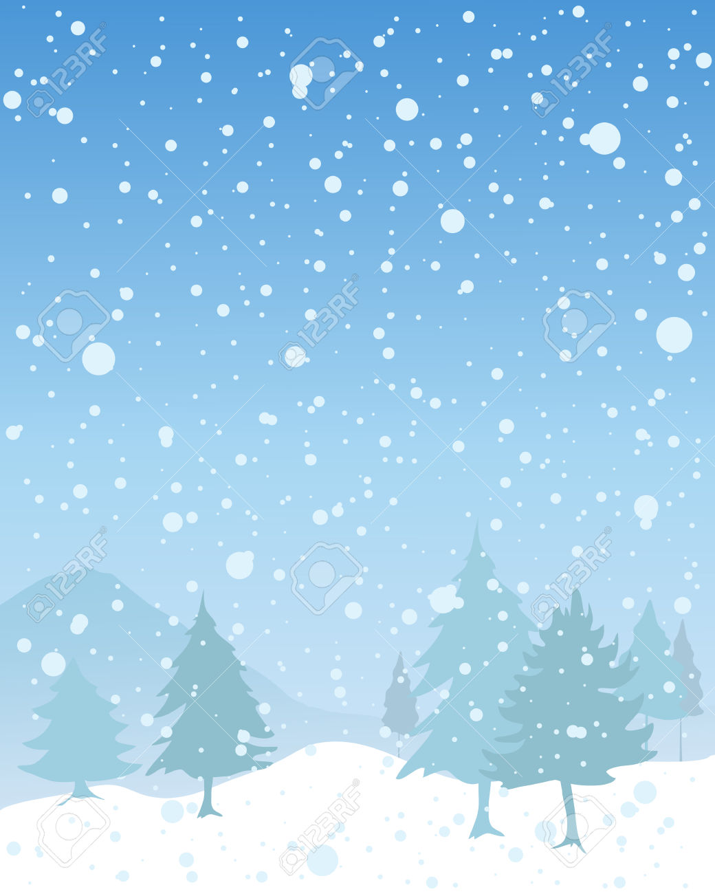 An Illustration Of A Snowy Seasonal Christmas Landscape With.