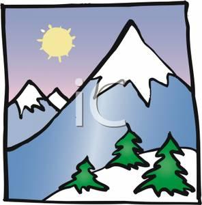 Clip Art Of Snowy Mountain Top Clipart#1975220.
