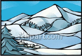 Clip Art Of Snowy Mountain Top Clipart.