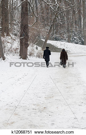 Stock Photography of Two Distant People Walking in Snowy Park.