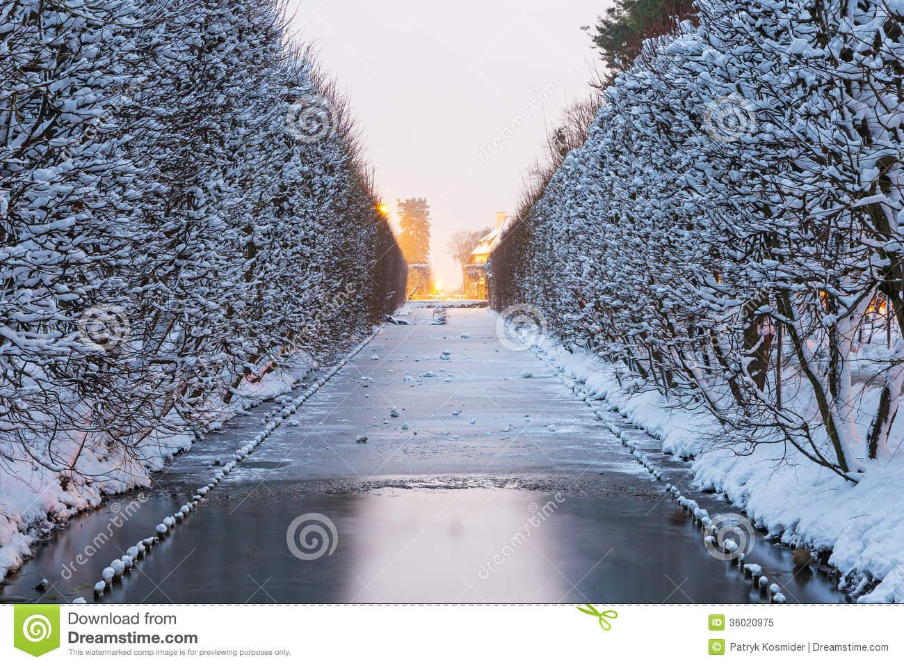 Winter Scenery Of Snowy Park In Gdansk Stock Photos.