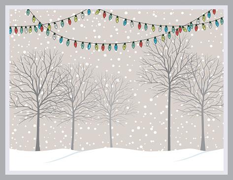 Snowy tree line clipart.