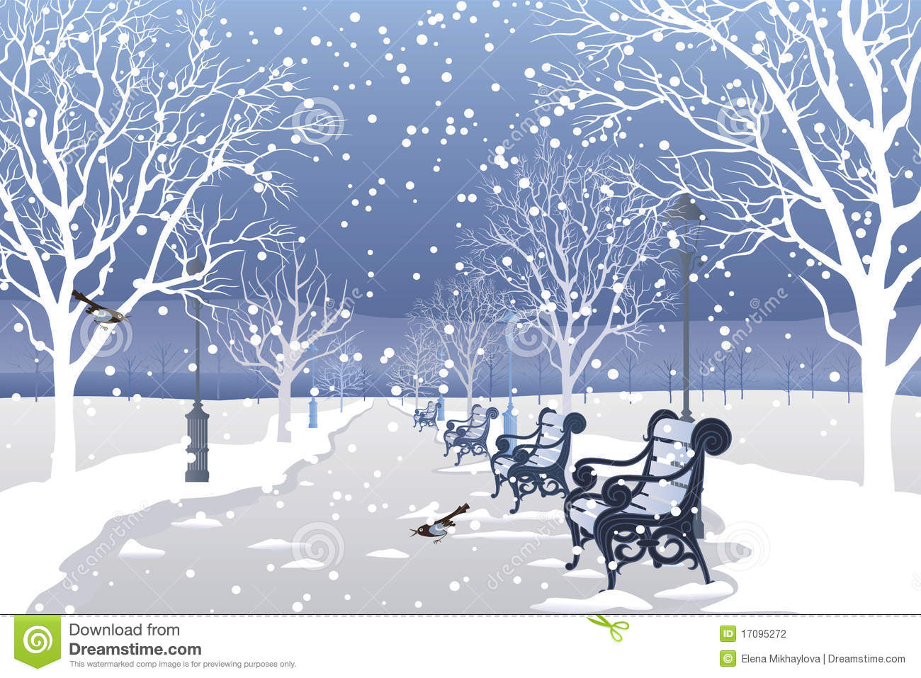 Snow Falling In City Park Stock Photography.