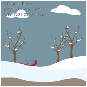 Clip Art Illustration of a Winter Park Scene.