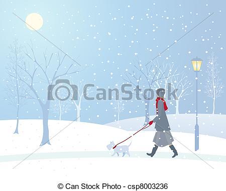 Clip Art Vector of snowy park.
