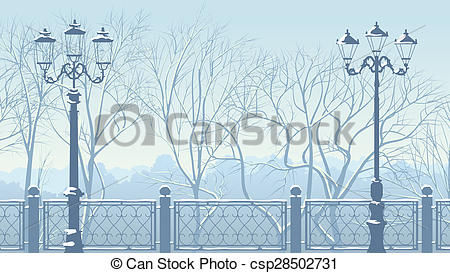 Drawings of Horizontal illustration of snowy park in blue tone.