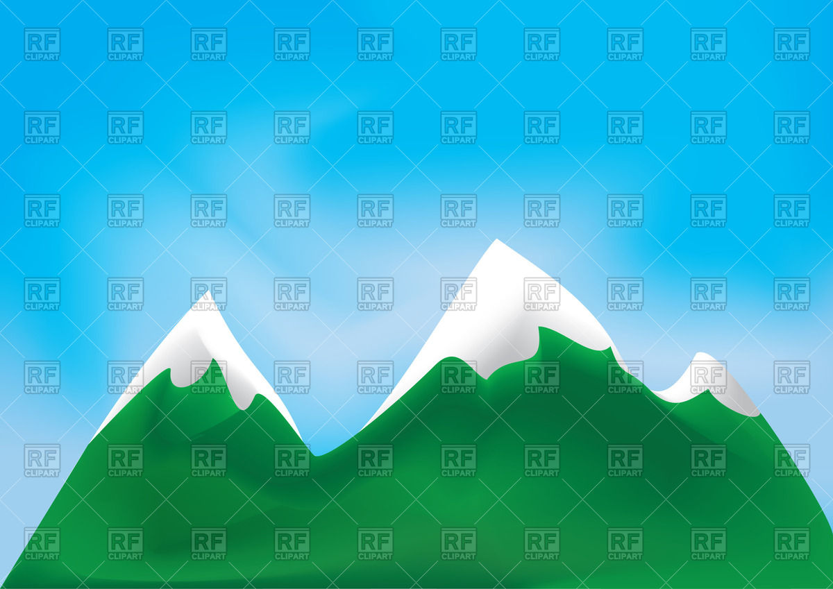 Green mountains with snowy peaks Vector Image #46796.