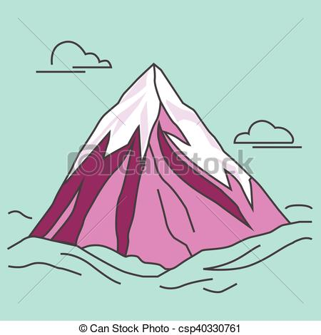 Clip Art Vector of Purple mountain with clods. Snowy peak.