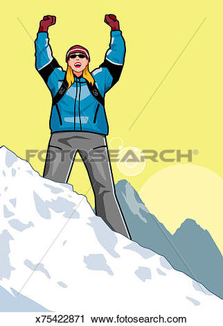 Clipart of Woman on top of snowy peak raising arms over her head.