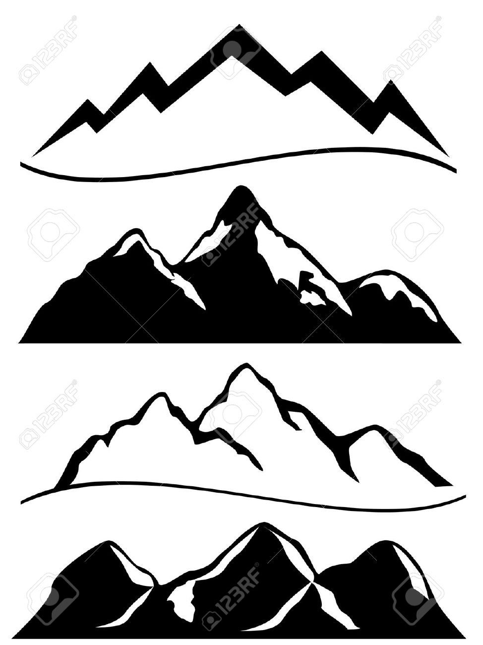 990 Snowy Peak Stock Vector Illustration And Royalty Free Snowy.
