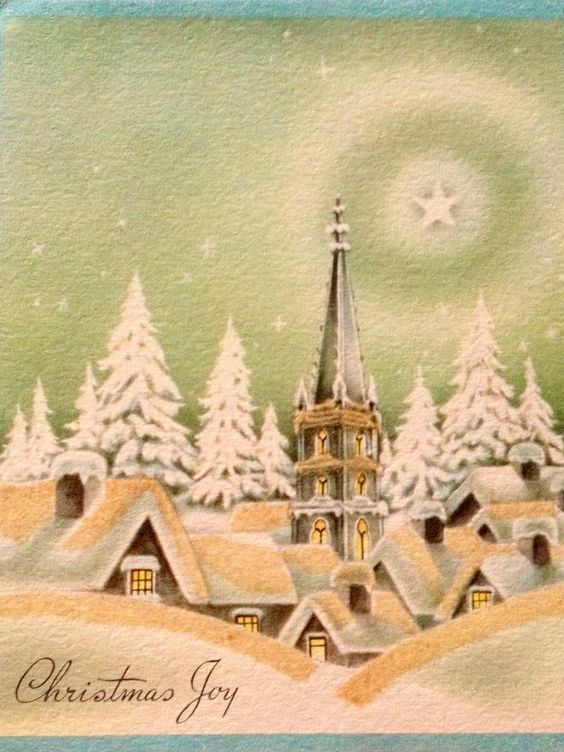 Christmas Joy. Vintage Christmas Card. Retro Christmas Card. Snowy.