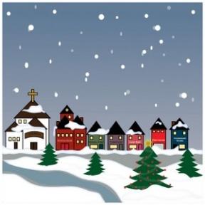 Snowy Religious Christmas Clipart.