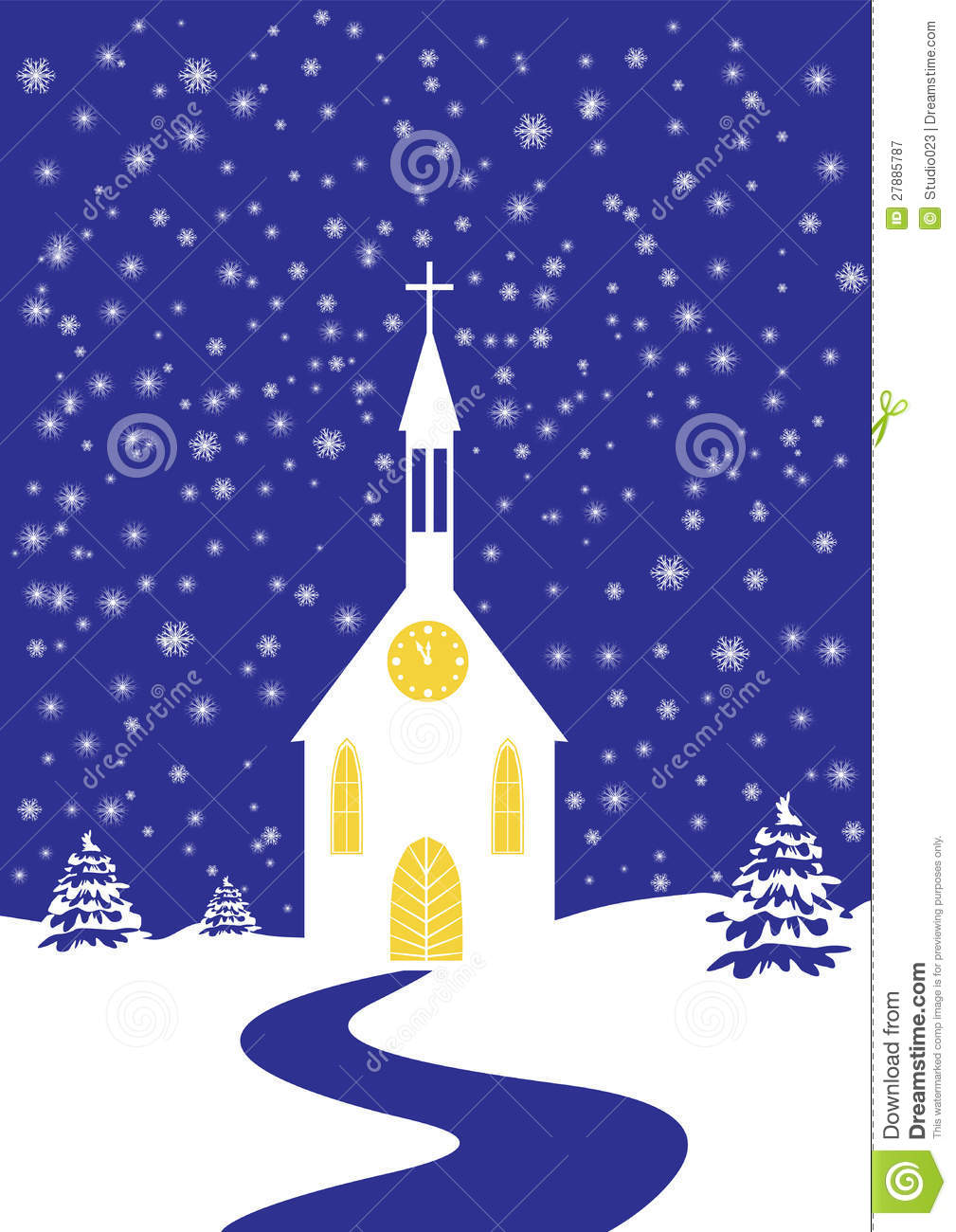 Christmas Church Of Snowy Landscape Royalty Free Stock Photography.