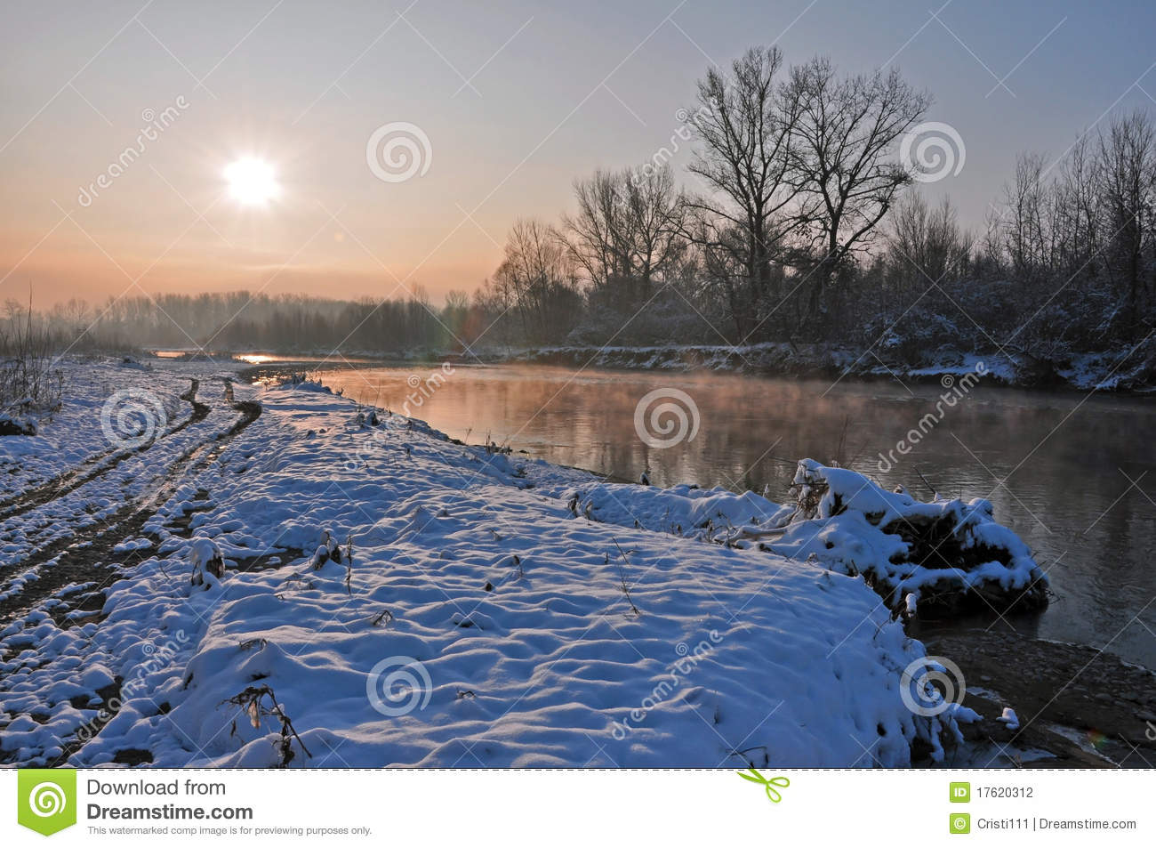Winter Sunrise Over Snowy River Stock Photography.
