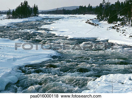 Pictures of Sweden, river running through snowy banks paa016000118.