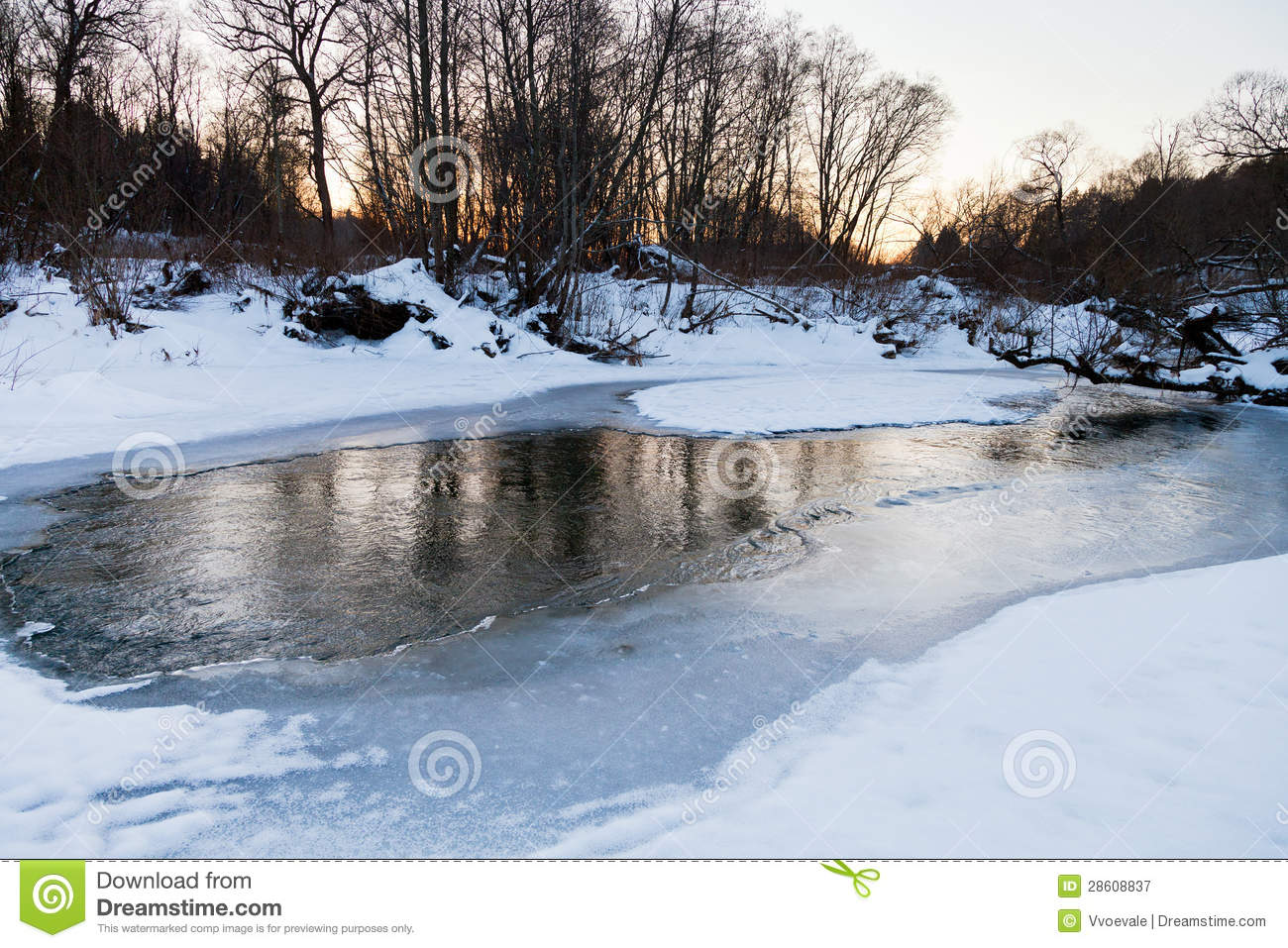 Snow Riverbank Of Forest Stream In Winter Royalty Free Stock.