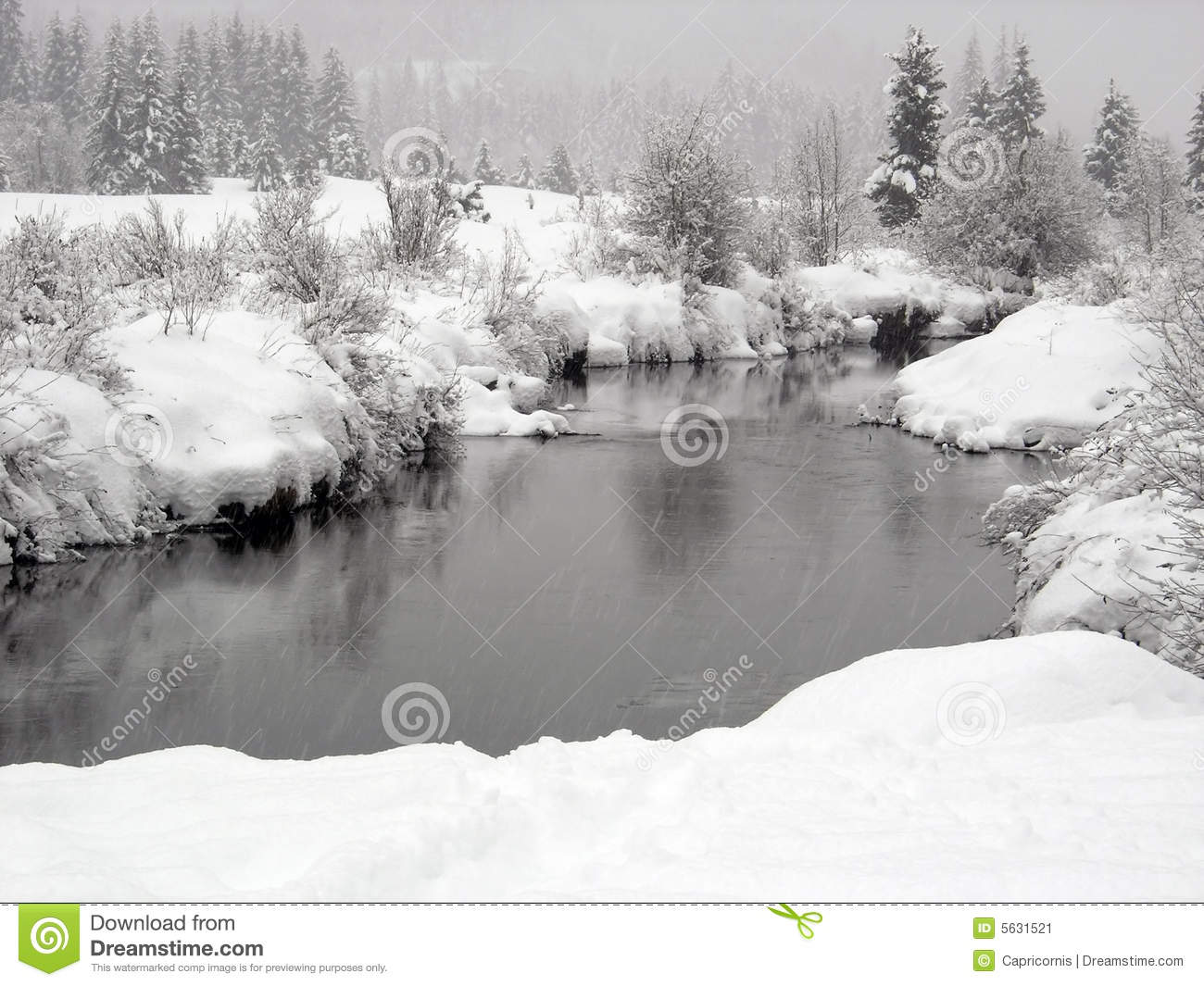 Snow Falling On A River With Snowy Banks In Whistl Stock Image.