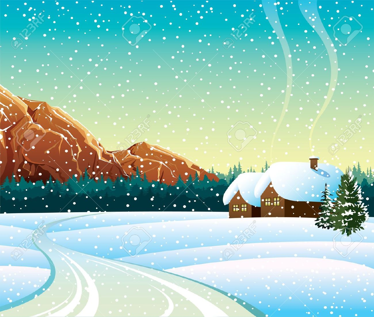 Snowy road clipart.