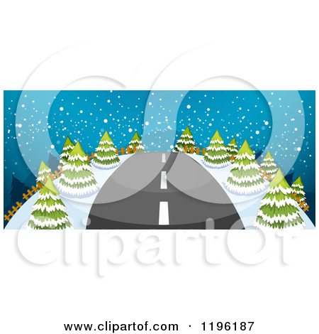 Cartoon of a Straight Road Leading Through a Snowy Night Landscape.