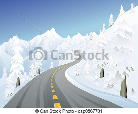 Snowy Roads Clipart.