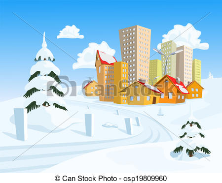 Clip Art Vector of Colored vector town with snowy road csp19809960.