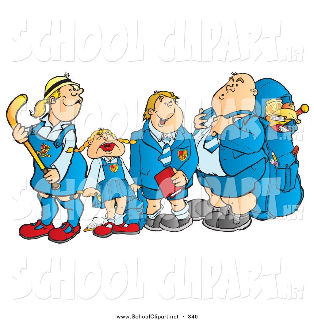 Clip Art of a Line of School Children Waiting at a Bus Stop by.