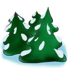 Snowy christmas tree clipart.