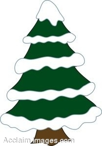 Snowy pine tree clipart.