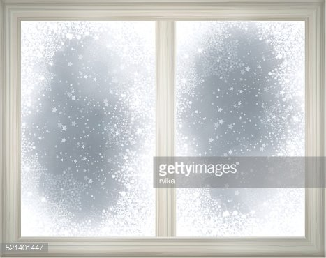 Window frame on snow background. Clipart Image.