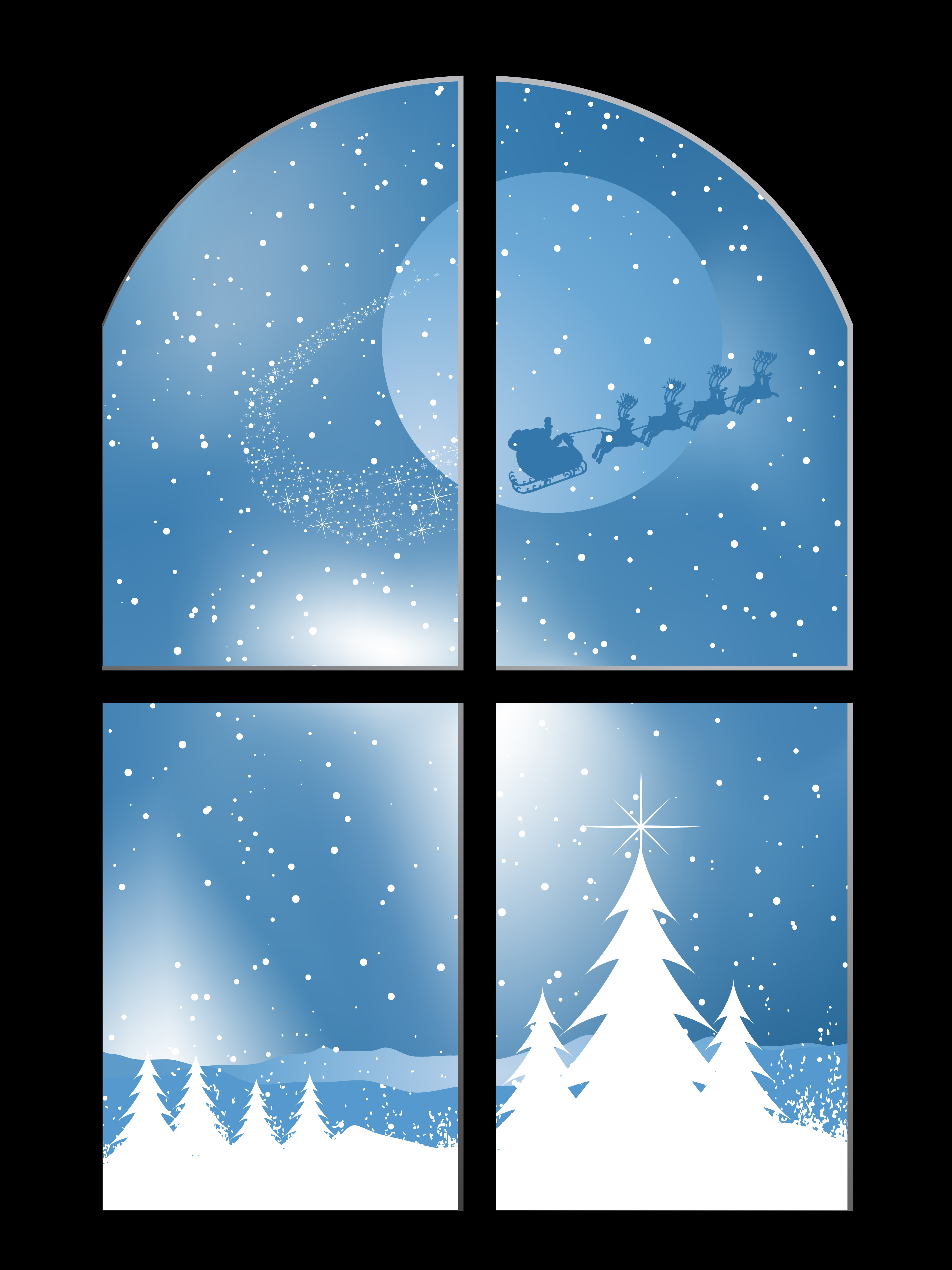 Snowy Window Free Vector Art.