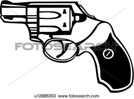 Clipart of , gun, revolver, six shooter, snub nose, weapon.