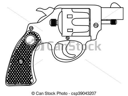 Vector Clipart of Snub Nose 45 Hand Gun.