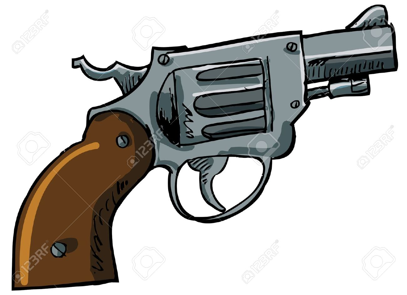 Illustration Of A Snub Nose Revolver. Isolated On White Royalty.