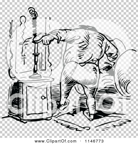 Clipart of a Retro Vintage Black and White Man Snuffing a Candle.