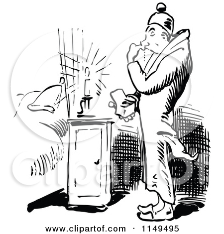 Clipart of a Retro Vintage Black and White Man Burning His Finger.