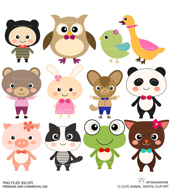 12 Cute Animal Digital clip art for Personal and Commercial use.