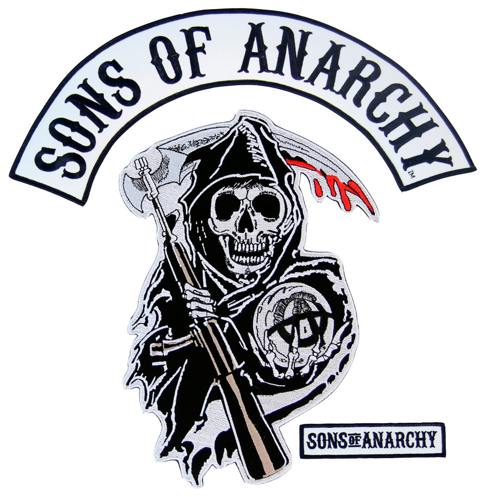 Sons of Anarchy Text and Arched Reaper Logo Patch Set.