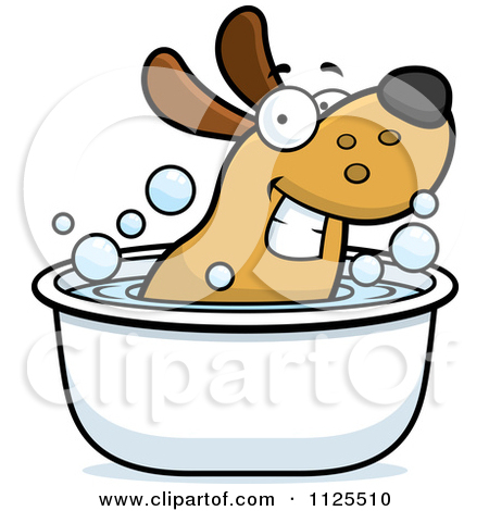 Clipart of a Cartoon Happy Puppy Dog and Cat Soaking in a Bubble.